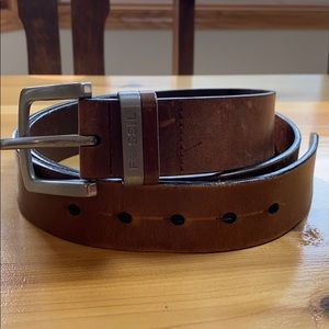 Fossil distressed leather belt brown 100 / 40